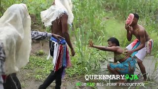 A maiden who went to the farm on a villages cultural day got fucked mercilessly by three masquerades
