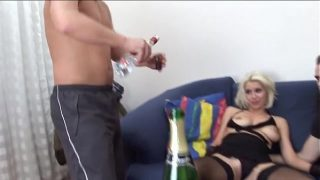 cute blonde babe gets three some hardcore double cock penetration