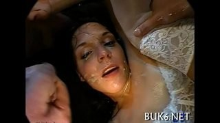 Maid acquires gang team fuck session