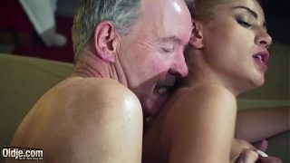 Nasty Cherry kiss is aggressive with old man and makes him fuck her hard