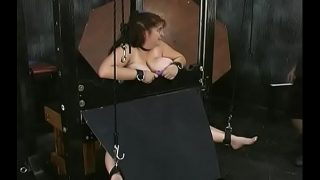 Playgirl gets man to roughly stimulate her bawdy cleft in bondage xxx